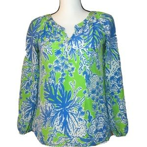 LILLY PULITZER SILK BLOUSE Sz XS